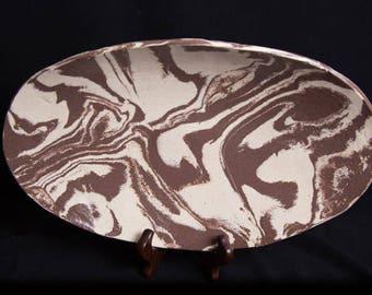 Marbled Earthenware Bread Bowl; Serving Platter; Georgia Clay; Army Veteran; Veteran Owned; Female Veteran;Disabled  Woman Veteran