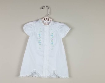 Vintage 1980s baby dress with floral embroidery white