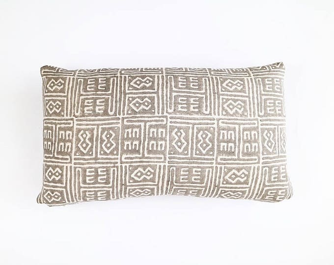 READY TO SHIP Hand Block Printed African Tribal Linen Lumbar Pillow Cover 12x20