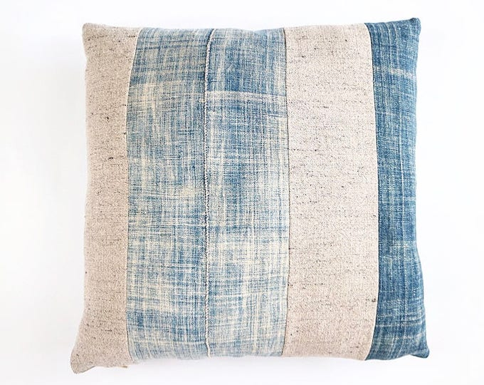 READY TO SHIP Vintage African Indigo And Belgian Linen Pillow Cover 20x20