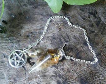 Tiger's Eye on Quartz Pendulum, Dowsing Pendulum, Crystal Pendulum, Pendulum Dowsing, Divination, Pendulum, Divination Pendulum