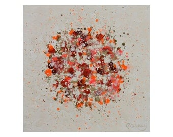 Original Abstract Painting on Wood Panel by Lisa Carney - PETAL BURST 09 - Botanical Art - Orange, Beige, Red, White, Small Abstract Art
