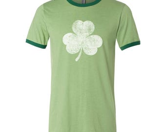 White Irish Shamrock Distressed St Patricks Day Ireland Ringer Jersey DT2247