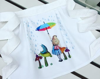ALICE IN WONDERLAND apron pinny for little girls, fully lined in blues and white with rainbow detail age 2/3 or 4/5 - can be personalised
