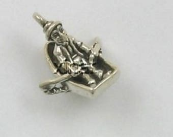 Sterling Silver 3-D Row, Row, Row Your Boat Charm