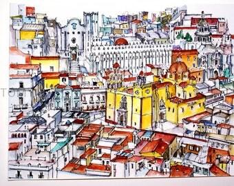 GUANAJUATO. MEXICO.  Views. Basilica of Our Lady of Guanajuato (Mexico). Original watercolor.
