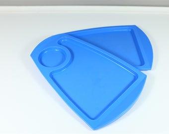 Set of two blue individual vintage Fremware trays - Retro snack trays - Blue television trays