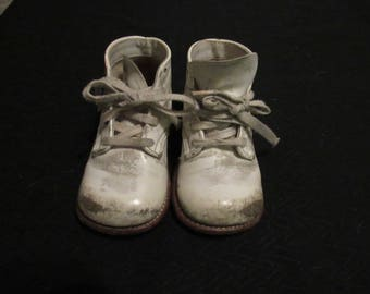 Pair Vintage Stride Rite Straight Last Baby Toddler Walking Shoes Leather Uppers and Soles Size ? 1980's Crafts Altered Art