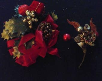 2 Piece Lot Christmas corsages pine cones glitter chenille ribbon mercury glass sugar bells packages plastic leaves gold berries