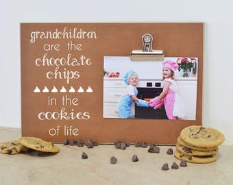 Gift For Grandma, Gift For Grandparents Day, Grandchildren Photo Frame  {Chocolate Chips in the Cookies of Life}  Custom Picture Frame
