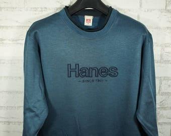 Vintage Hanes Embroidered Logo Size Medium M / Hanes Sweater / Hanes Sweatshirt /