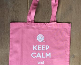 """Cotton Tote Bag """"Keep Calm and Carry Yarn"""", Shopping Bag, Knitting Bag, Yarn Bag, Quote , Gift for Knitters, Yarn Storage, Yarn Lovers"""