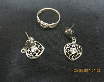 Sterling (.925) Heart Ring and Earring Set