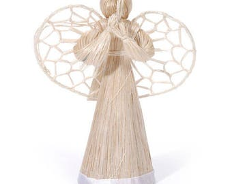 Set of Christmas Tree decoration Ornament 3-D Abaca Angel - Natural - 4 inches