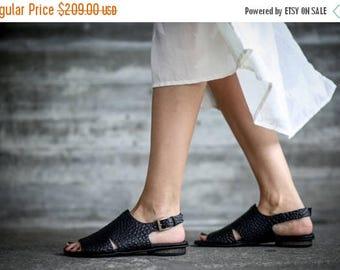 SALE Leather Sandals, Black Sandals, Handmade Sandals, Black Summer Shoes, Summer Flats, Slingbacks, Greek Sandals, Beatrice