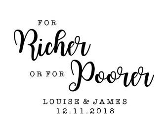 For Richer Or For Poorer Stamp, wedding stamp, wedding favours stamp, personalised wedding stamp, For Richer or Poorer, (cts229)