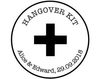 """Hangover Kit Stamp, Wedding Favors Stamp, Thank You Stamp, Emergency Stamp, Hotel Bag Stamp, Custom Rubber Stamp, 1.8""""x1.8"""" (cts233)"""