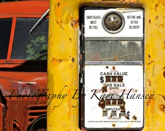 Vintage Service Station Yellow Gas Pump Red Truck Rural America Fine Art Photography Man Cave Garage Art - Red Yellow