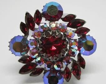 "Vintage Jewelry - ""Claudette""  Rhinestone Brooch Pin - Deep Red - Verified"