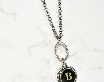 Typewriter Key Necklace, Personalized with a Letter B Initial, Initial Necklace, Gift for Her.