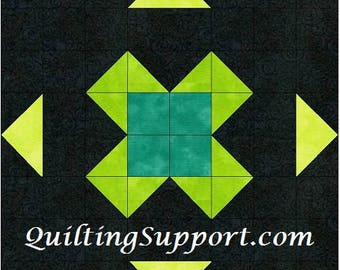 Find Luck 15 Inch Block Paper Template Quilting Block Pattern PDF