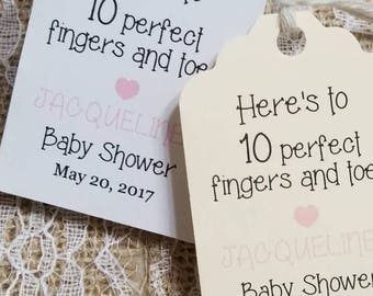 """Personalized Favor Tags 2.5Lx1.8w"""", Baby Girl Shower  tags, Thank You tags, Favor tags, Gift tags, baby shower, ten fingers, baby poem"""