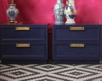 Pair of Campaign Nightstands Lacquered in Glossy Dark Navy - Ready to ship!