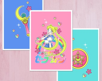 Pack of 3 Sailor Moon Style Illustration A5 Archival Fine Art Print