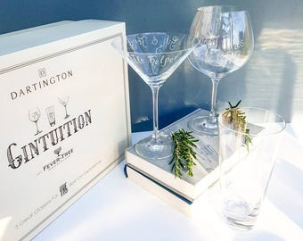 Personalised Gin Glasses | Hand Engraved Dartington Glass | Custom Gin Glasses | Gin and Tonic Gifts | Christmas Gift Ideas | Gin Gift Set |