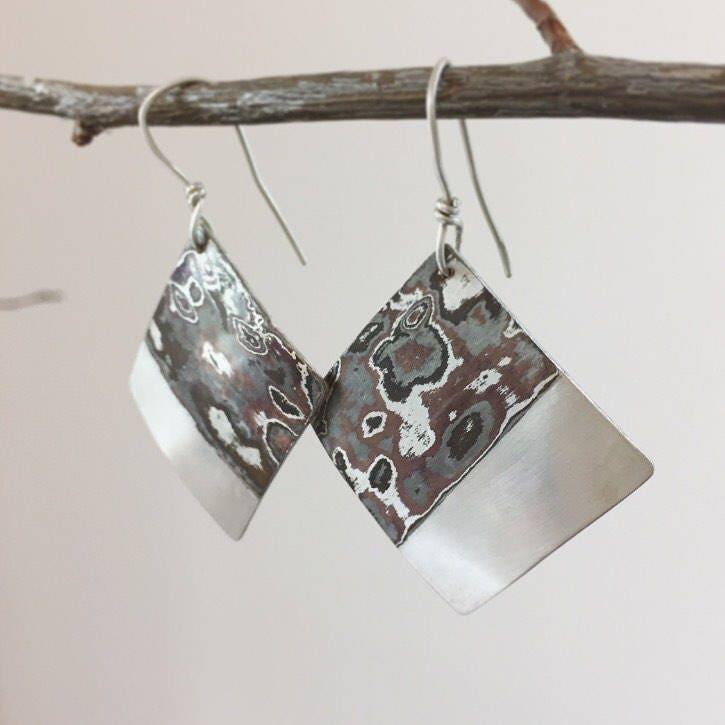 Mokume Gane Earrings: Large Square Mokume Gane Dangle Earrings