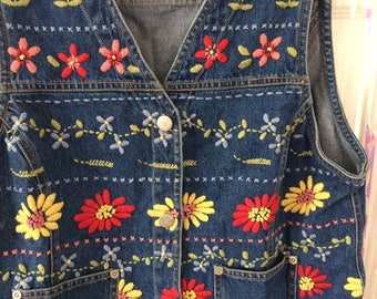 Denim flower embroidered button up vest waistcoat S
