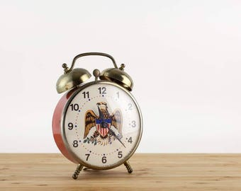 Vintage LUX Eagle Alarm Clock, Lux Time Company, USA Patriotric Eagle Red Alarm Bell Clock, Shelf Clock, Americana, Vintage Decor, 1970s