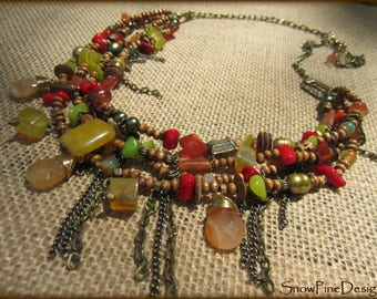 Fall Fiesta Mixed Gem, Wood and Brass Four Tier Necklace