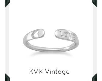 "Rhodium Plated SMALL Adjustable ""Love"" Ring -  Sterling Silver Hand-stamped Ring"
