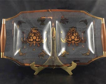 Vintage Mid Century Georges Briard Double Tray / Serving Dish / Sonata / Partridge Pattern