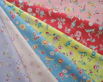 """Bundle of 1/8 Yuwa Atsuko Matsuyama 30's Collection Floral Cherries Fabric in 6 Colorways. Approx 9"""" x 21"""" Made in Japan."""