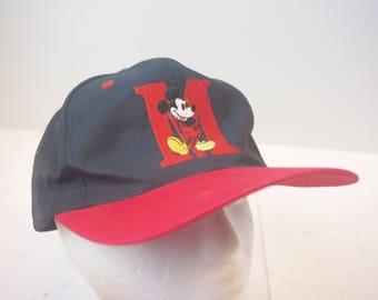 "90s Mickey Mouse ""M"" Logo disney hat cap snapback vintage"