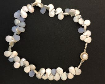 Pearl and blue chalcedony teardrop neclace