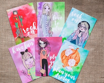 Set of 6 motivational fashion girl postcards - colourful & inspirational set with girl characters for planners and snail mail