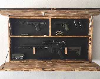 Hidden Gun Storage, American Flag Gun Storage, Hidden Gun Cabinet, Concealed Flag, Gun Cabinet, Gift for Him, Christmas Gift for Him