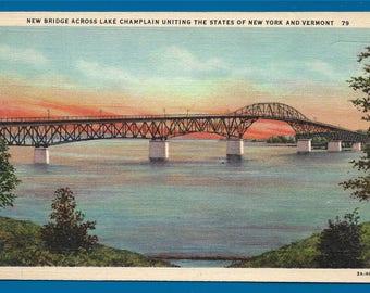 Vintage Linen Postcard -  Champlain Bridge Across Lake Champlain Uniting New York and Vermont  (2726)