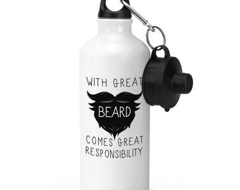 With Great Beard Comes Great Responsibility Sports Bottle