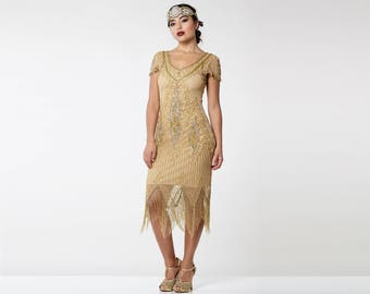 US8 UK12 AUS12 EU40 Annette Gold 20s Flapper Great Gatsby Downton Abbey Charleston Art Deco Bridesmaid Wedding Guest Bridal Shower Dress