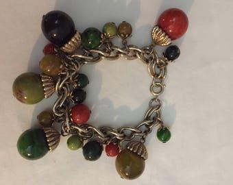 Vintage Bakelite Multicolored charm Bracelet
