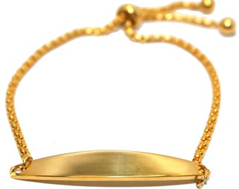 Engraved / personalised metal gold plated bracelet in velvet gift pouch BR26
