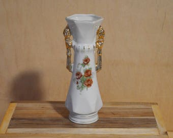 Vintage White Vase with Roses, Gold Trim, Gold Handles, Made in Japan