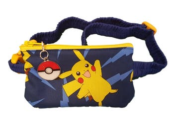 Insulin Pump Pouch Pack Pikachu with matching zip charm.