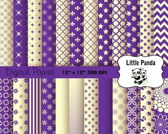 80% OFF SALE Purple and Cream Digital Paper Pack 24 jpg files 12 x 12  - Instant Download - D274