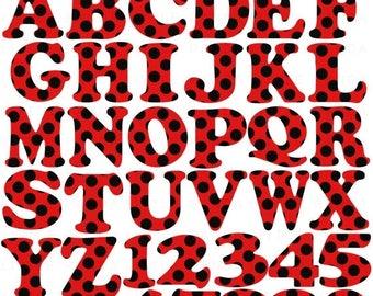 60% OFF SALE Polka Dots Alphabet & Numbers Clip Art Digital Scrapbooking  - Instant Download - C82