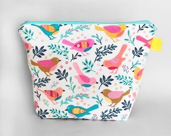 Large Make Up / Wash Bag with Rainbow Birds and a Waterproof Lining, Great Cosmetic / Travel / Toiletry Bag or nappy / diaper pouch